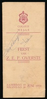 MELLE - COLLEGE MELLE - FEEST VAN Z.E.P. OVERSTE 1954  - UITKLAPBAAR ZIE 3 SCANS  18 X 8 CM - Melle