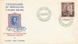 Belgique:centenaire Du 1er Timbre Belge, 1er Salon Philatélique 17-10-1949 COB N° 807 - FDC