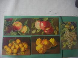 Lot De 5 Cartes Dessin Nature Morte : FRUITS : Pêches Pommes Poires Abricots Raisins --- Série Artistica Velluto - Alberi
