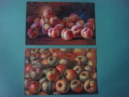 Lot De 2 Cartes Dessin Nature Morte : FRUITS : Pêches Pommes --- Série Artistiche Frutta - Pittore Ferri - Alberi