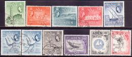 ADEN 1964-65 SG 77-86 Compl.set Incl. 82a Used Wmk Mult. Block CA CV £67.50 - Aden (1854-1963)