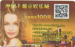 Carte Pré-Payée Casino En Ligne On-line : Lisboa Macau Macao 100 Patacas - Cartes De Casino