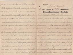 Courrier Prisonnier Guerre PG  à Son épouse / 1918 / / Camp De Meschede Allemagne / Kriesgefangenenlager - 1914-18