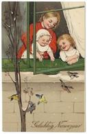 Gelukkig Nieunjaar 1911 - Reliëf Kinderen Die Vogels Voeren - Paul Finkenrath - New Year