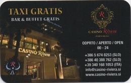 Carte Publicité Invitation : Casino Riviera Slovénie : Taxi - Bar - Buffet Gratuit - Cartes De Casino