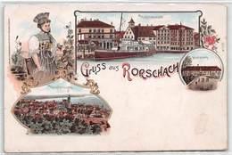 Gruss Aus Rorschach - Litho - Hafenansicht - Hauptansicht - - SG St. Gallen
