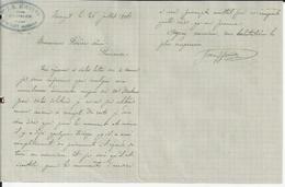 BURZET J S JOUFFRE HUISSIER LETTRE AVEC CACHET ANNEE 1904 - France