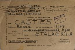 Kriegsgefangenpost / Correspondance Militaire : STALAG XII - A Limburg (Rhénanie - Allemagne / Expédiée De Toulouse) - Documents