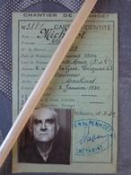 44 SAINT NAZAIRE CHANTIER DE PENHOET CARTE D'IDENTITE MILITARIA LAISSER PASSER ALLEMAND TAMPON MACHINOT - Vieux Papiers