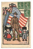 Guerre 14 18 Drapeau Et Soldat Américains Alsace 2 Scans..G - Guerre 1914-18