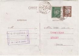 Entier Pétain 80 C + Complément Pétain Vert 50 C / Pelletier Pontarlier / Pour Brun à Luhier 25 Doubs - Entiers Postaux