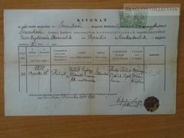ZA176.13   Old Document Hungary  SZENDRŐ - Bálint (1850)  Falát György - Horváth Susanna 1875 -Ujhelyi Lajos Plébános - Birth & Baptism