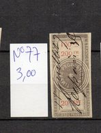 DT16S FRANCE 1 TIMBRES OBL FISCAL FISCAUX REVENUE REVENUES EFFETS COMMERCE N°77 ETOILE BARRE - Revenue Stamps