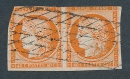 """CI-83: FRANCE: Lot """"CERES"""" Avec N°5 Paire Obl Grille Sans Fin, Court Mais Pas De Clair - 1849-1850 Cérès"""