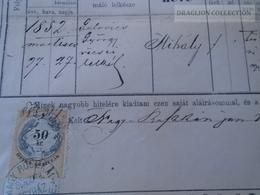 ZA176.15 Old Document Slovakia  Nagyruszka  Veľké Ruskov Nový Ruskov Kosice Trebisov - Mihály (1852) JANOSCSIK - Birth & Baptism