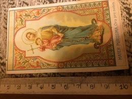 Mater Purissima, Ora Pro Nobis   -  Antico Santino Cromolitografico Fine Ottocento - Santini