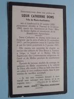 DP Soeur CATHERINE DOMS ( Fille De Marie-Auxiliatrice) Né à Londerzeel 21 Oct 1895 - Décédé Tournai 14 Fev 1960 ! - Overlijden