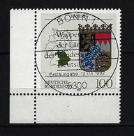BUND Mi-Nr. 1587 Linkes, Unteres Eckrandstück Wappen Bayern Gestempelt (2) - BRD