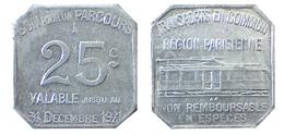 04984 GETTONE JETON PLAY TOKEN TRASPORTO TRANSIT TRAMWAYES PARIS REGIONE PARISIENNE 1921 - Non Classés