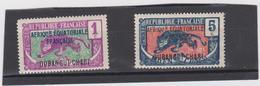 OUBANGUI CHARI AFRIQUE EQUATORIALE 2 T Neufs X N° YT 43 46 -année 1924 - Ubangui (1915-1936)