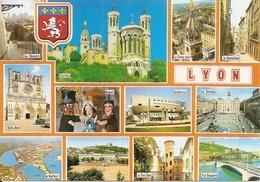 69. CPM. Rhône. Lyon. Multi-vues (12 Vues) Fourvière, La Vierge Dorée, L'auditorium, La Tour Rose, Cathédrale Saint-Jean - Lyon