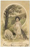 Joyeuses Pâques Enfant Agneau En Relief Child Lamb Embossed 1906 - Paul Finkenrath - Easter