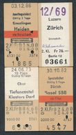 SWITZERLAND QY3485 4 Fahrkarte Billet Ticket Luzern Zürich Chur Kreuzlingen - Chemins De Fer