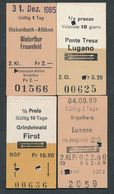 SWITZERLAND QY3889 4 Fahrkarte Billet Ticket 4 Tickets Rickenbach-Attikon Engelber Ponte Tresa - Chemins De Fer