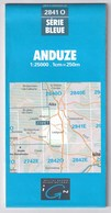 2841 O - ANDUZE - Carte IGN Série Bleue 1:25000 - 1 Cm = 250 M - Rando, Chasse, Pêche, Nature - Cartes Topographiques