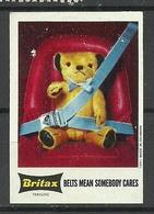 SWEDEN Britax Advertising Poster Stamp Teddy Bear Safety Belts - Cinderellas