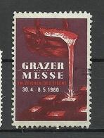 SCHWEIZ 1960 Grazer Messe Fair Vignette Werbemarke * - Erinnophilie