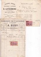 77 BRIE-COMTE-ROBERT - Lot De 2 Factures : Fabrique De Vannerie RUBY Et Ent. De Peinture LATOURNERIE, Rue Gambetta - Brie Comte Robert