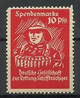 GERMANY Ca 1910 Deutsche Gesellschaft Zur Rettung Schiffbrüchiger Wohltätigkeitsmarke Spendemarke MNH - Schiffahrt