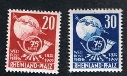 1949 4. Okt.. 75 J. UPU Mi DE-FRP 51 - 52 Yt DE-FRP 50 - 51 Sg DE-FR 51 - 52 AFA DE-FRP 52 - 53 Postfrisch Xx - Französische Zone