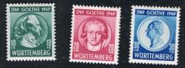 1949  12. August 200. Geb. Goethe  Mi 44 - 46 Yt DE-FWH 46 -48 Sg DE-FW 44 - 46 AFA 45 - 47 Postfrisch Xx - Französische Zone