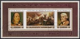 Ajman 1976 Bf. 303B Philadelphia Fair Franklin Jefferson Declaration Independence Sheet CTO Imperf. - Ajman