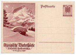 GERMANY THIRD REICH - POSTAL STATIONERY/ENTIER 15+10 Pf. WINTER OLYMPICS 1936 GARMISCH-PARTENKIRCHEN - Ganzsachen