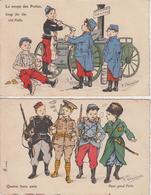 """Lot De 2 CPA Illustrateur Chamouin - """"La Soupe Des Poilus"""" Et """"Quatre Bons Amis"""" - Illustrateurs & Photographes"""