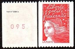France Roulette N° 3084 A ** Marianne Du 14 Juillet LUQUET - Le Rouge Tvp Prioritaire, Numéro Rouge Au Verso - Rollen