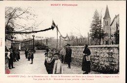 CPA NEUVE - ARBIGIEU, 1922, VISITEURS DU MONUMENT AUX MORTS INAUGURE LA VEILLE - - France