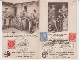 """SARTHE : """" EXPOSITION PHILATELIQUE DU MANS 1943 / 2 Cartes Illustrées De L'Amicale Des Cheminots TB - Marcophilie (Lettres)"""