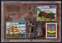 Bolivia 1986 Trains And Ships Of Antofagasta Souvenir Sheet Unmounted Mint. - Bolivia