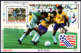 Bolivia 1993 World Cup Football MUESTRA Souvenir Sheet Unmounted Mint. - Bolivia