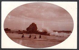 AS955) Boys Swimming In Ocean - Large Rock - Ca.1910-15 RPPC - Unknown Location - Australie