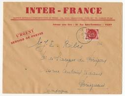"""N°506 30c Pétain Seul S/L 15cm X 20cm - Enveloppe De Presse """"INTER-FRANCE"""" - VICHY 8/1/1942 - Ecrit De Presse Non Routé - 1941-42 Pétain"""