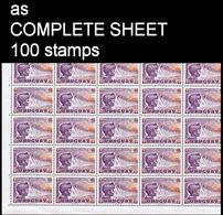 CV:€25.00 URUGUAY 1959 Hydro Electric Dam National Recovery 1$+10c Semi-postals COMPLETE SHEET:100 - Uruguay