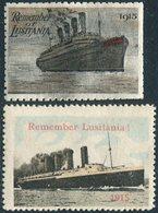 WWI 1915 REMEMBER LUSITANIA Poster Stamp Vignette Steamer Liner Steamship Dampfer Navire Paquebot Reklamemarke UK GB WW1 - Bateaux
