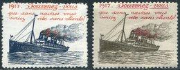 WWI 1917 Souvenez-vous Lusitania Poster Vignette Steamer Liner Steamship Dampfer Navire Paquebot Reklamemarke France WW1 - Ships