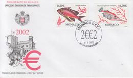 Enveloppe  FDC   1er  Jour   MONACO    Poissons   2002 - Vissen