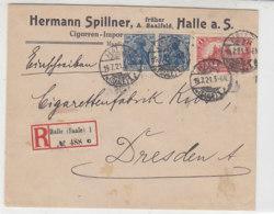 Fa. R-Brief Mit 148II, 113a Aus HALLE (Saale) 19.7.21 An Cigarrettenfabrik / Dresden - Geprüft - Briefe U. Dokumente
